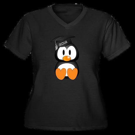 Custom Graduation Penguin Women's Plus Size V-Neck