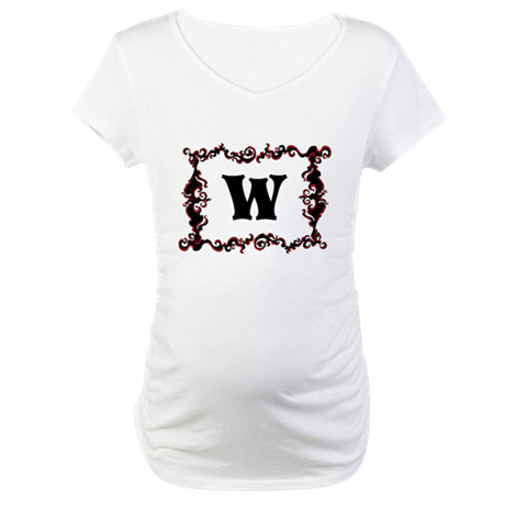 Monogram. Your Letter with Swirls Maternity T-Shir