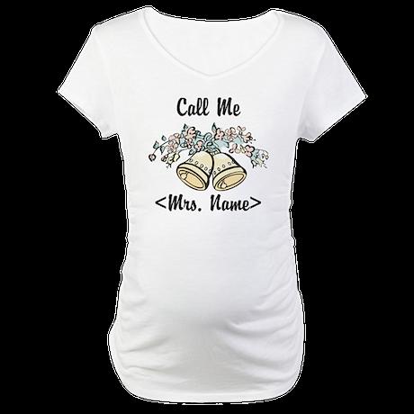 Custom Just Married (Mrs. Name) Maternity T-Shirt