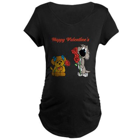 Valentines Day Dogs. Maternity Dark T-Shirt