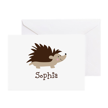 Custom Name Hedgehog Greeting Cards (Pk of 20)