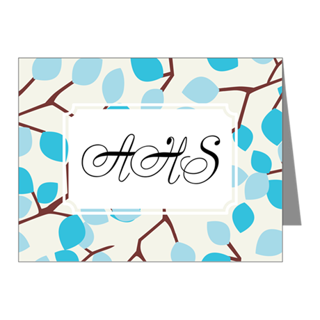 Branch Leaves Blue Note Cards (Pk of 10)