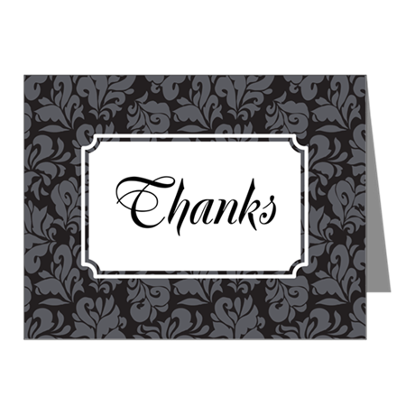Flourish Leaves Grey Note Cards (Pk of 10)