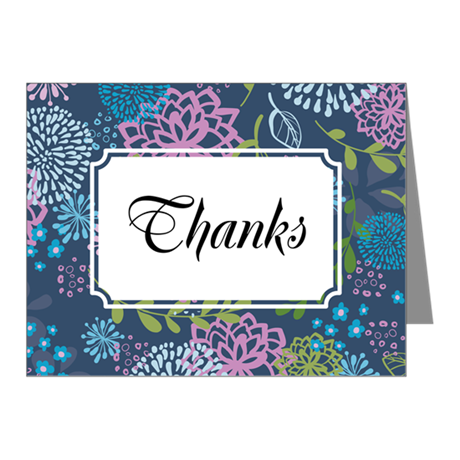 Layer Flowers Blue Note Cards (Pk of 10)