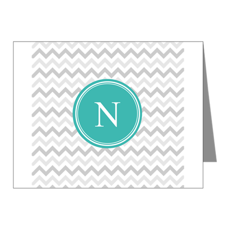 Turquoise Grey Chevron Note Cards