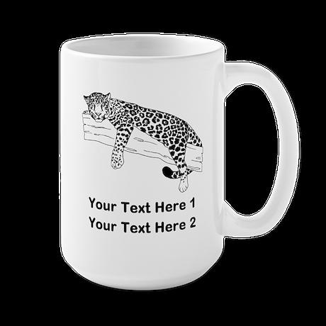 Leopard. Custom Text. Large Mug