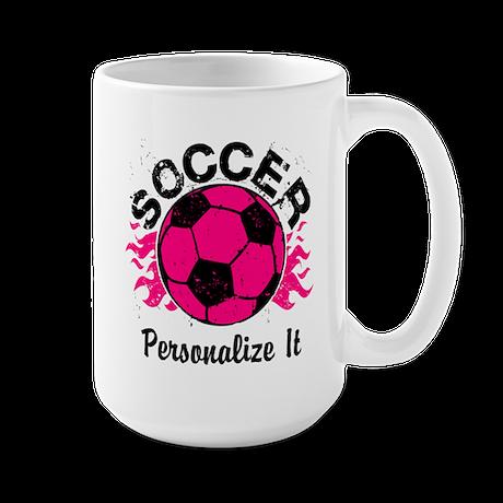 Personalized Soccer Flames Large Mug