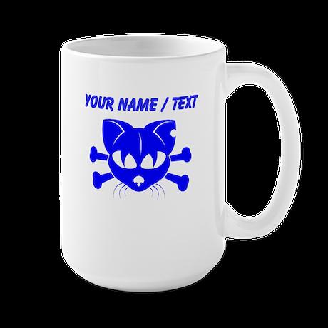 Custom Blue Cat And Crossbones Mugs