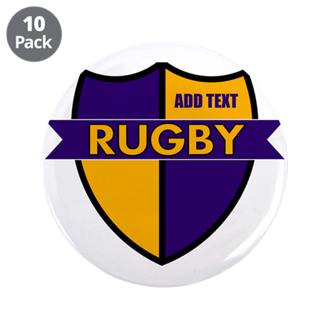 """Rugby Shield Purple Gold 3.5"""" Button (10 pack)"""