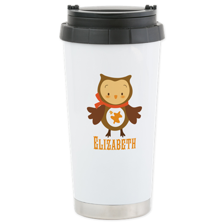 Personalized Autumn Owl Stainless Steel Travel Mug