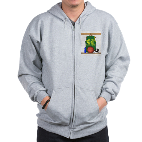 Personalized Basketball Green Zip Hoodie