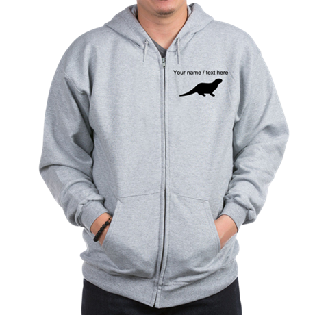 Personalized Black Otter Silhouette Zip Hoodie