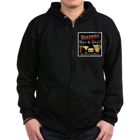 Personalized Bar and Grill Zip Hoodie (dark)