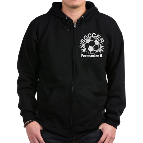 Personalized Soccer Flames Zip Hoodie (dark)
