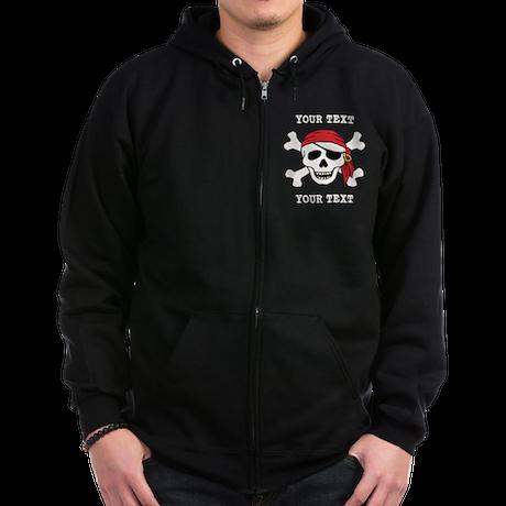 PERSONALIZE Funny Pirate Zip Hoodie (dark)