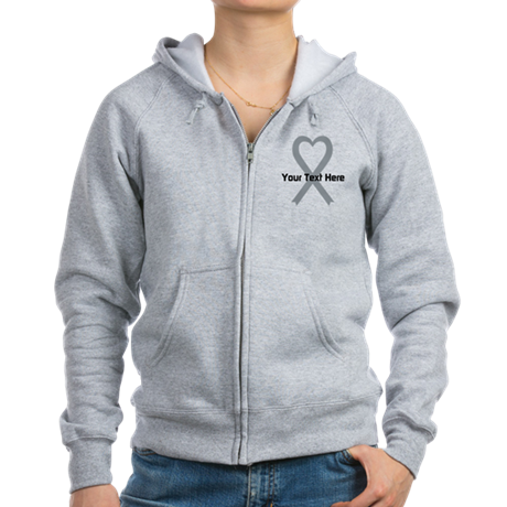 Personalized Gray Ribbon Heart Women's Zip Hoodie