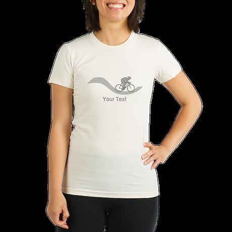 Cyclist in Gray. Custom Text. T-Shirt