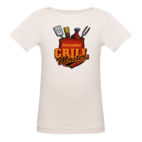 Pocket Grill Master Personalized Organic Baby T-Sh
