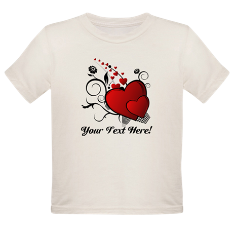 Personalized Red/Black Hearts Organic Toddler T-Sh