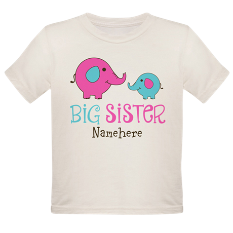 Personalized Big Sister Elephant Organic Toddler T