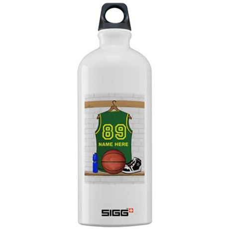 Personalized Basketball Green Sigg Water Bottle 1.