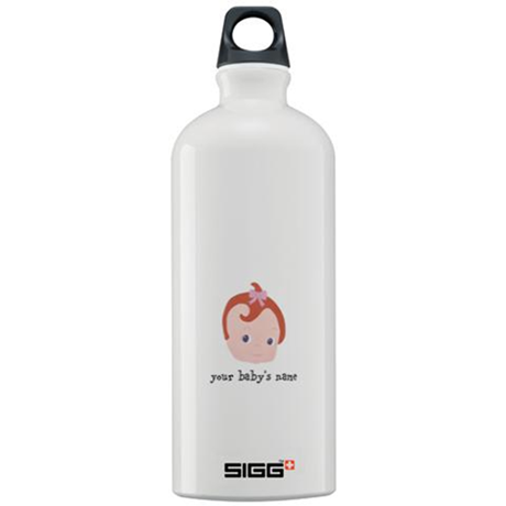 baby girl with red hair and a pacifier Sigg Water