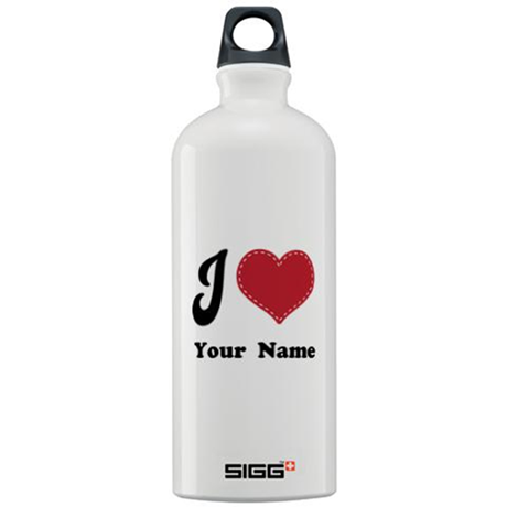Personalized Red Heart Sigg Water Bottle 1.0L