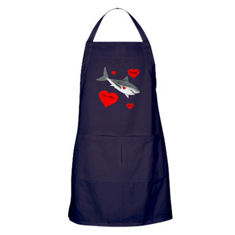 Personalized Shark Valentine Apron (dark)