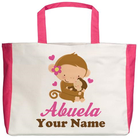 Personalized Abuela Monkeys Beach Tote