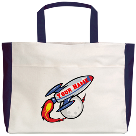 Personalized rocket Beach Tote