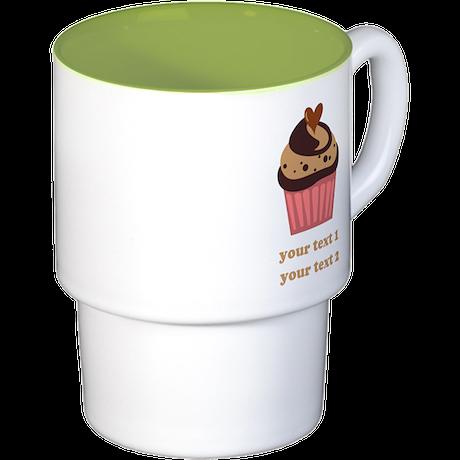 PERSONALIZE Chocolate Cupcake Stackable Mug Set (4