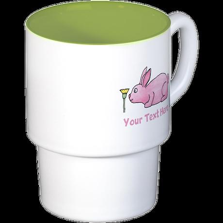 Pink Rabbit, Custom Text. Stackable Mug Set (4 mug