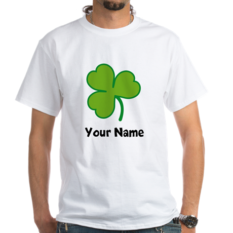 Personalized Irish Shamrock White T-Shirt