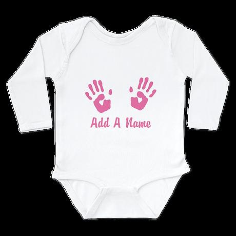 Baby Girl Pink Handprints Long Sleeve Infant Bodys