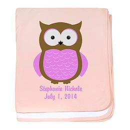 Custom Owl Baby Blanket