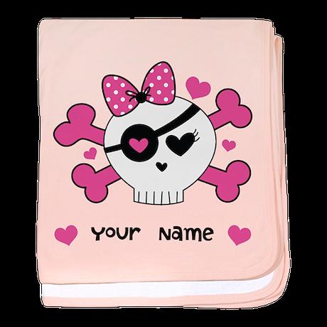 Personalized Valentine Girls Skull baby blanket