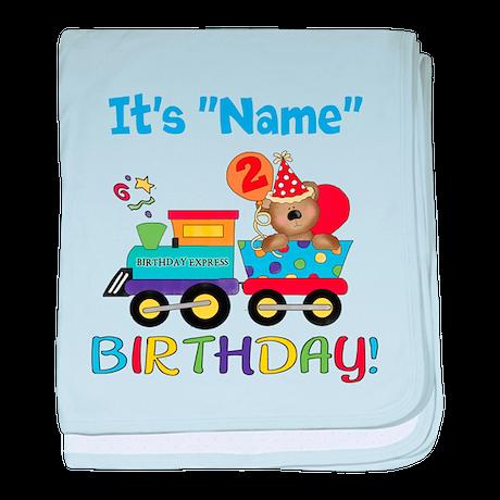 2nd Birthday Bear Train baby blanket