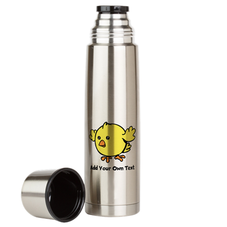 Cute Chick. Black Text Large Thermos Bottle