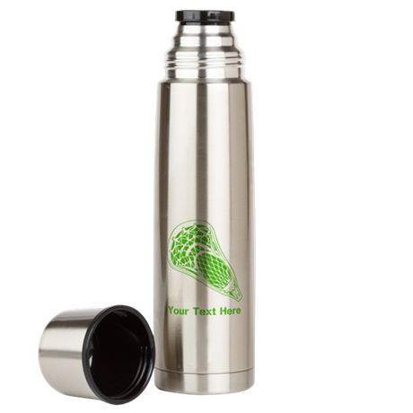Lacrosse Crosse. Green Text. Large Thermos Bottle