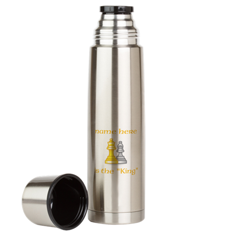 Personlized King Shirt Large Thermos Bottle