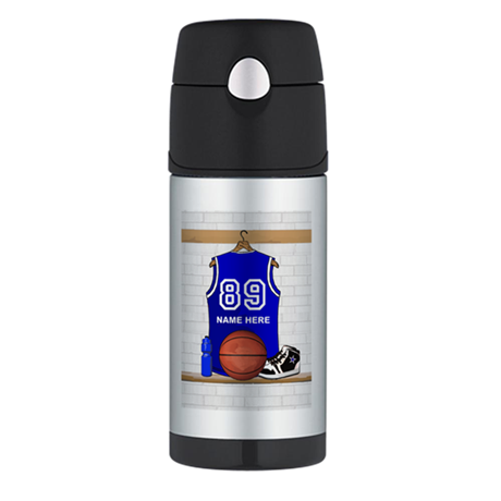 Personalized Basketball Jerse Thermos Bottle (12oz
