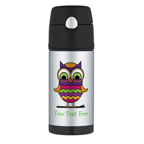 Customizable Whimsical Owl Thermos Bottle (12oz)
