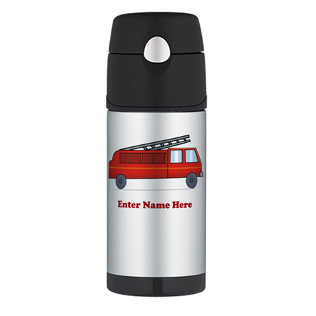 Personalized Fire Truck Thermos Bottle (12oz)