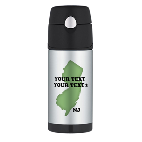 NJ YOUR TEXT Thermos Bottle (12oz)