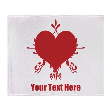 Red Fancy Love Heart and Text Throw Blanket