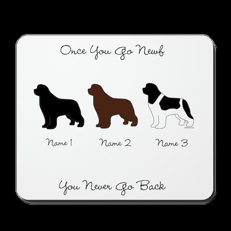 3 Newfs - Black, Brown, Landseer Mousepad