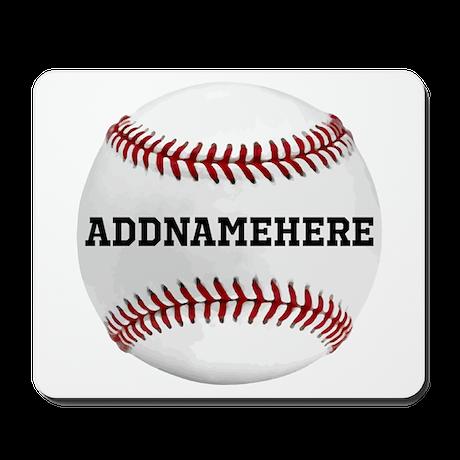 Personalized Baseball Red/White Mousepad
