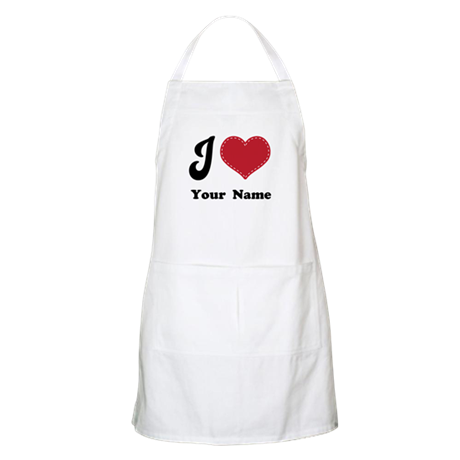 Personalized Red Heart Apron