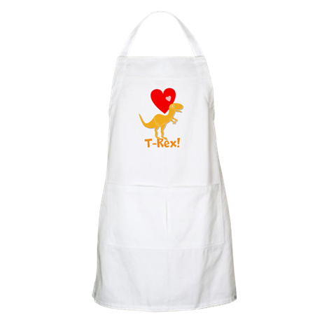 Cute Orange T-Rex Love Hearts with Name Apron