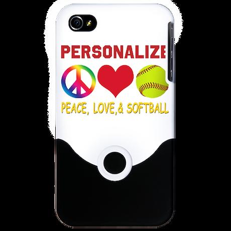 Personalize Girls Softball iPhone 4 Slider Case